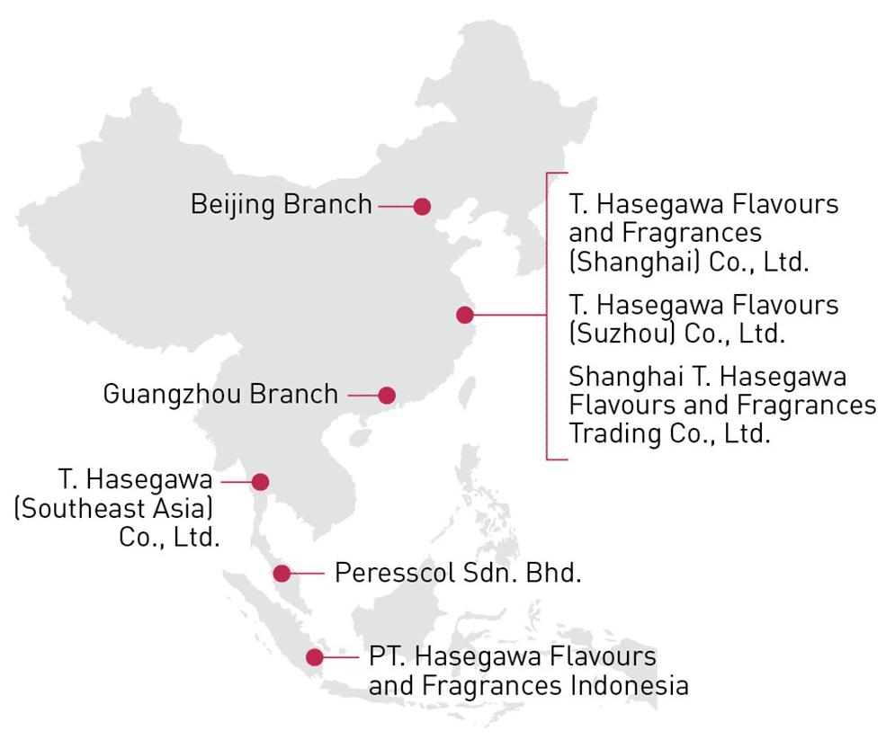 T. Hasegawa Locations - Asia