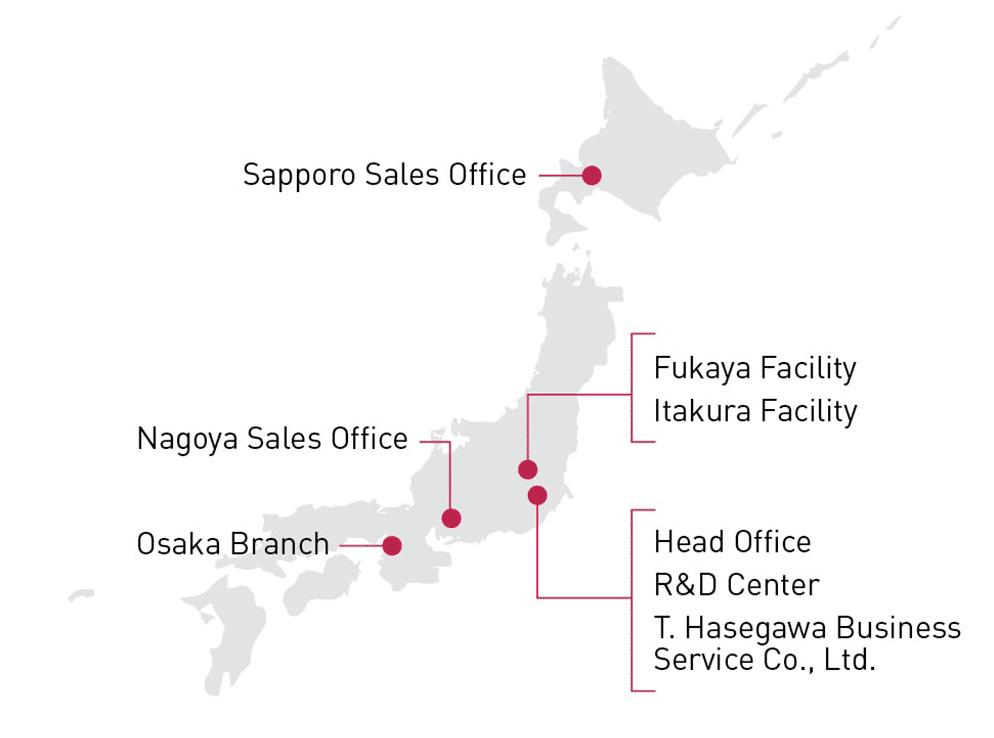 T. Hasegawa Locations - Japan