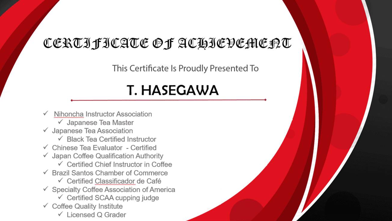 T. Hasegawa - Certificate of Achievement